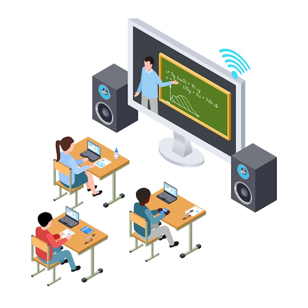 Concept De Vecteur D'éducation En Ligne. étudiants Internationaux Et Enseignant à L'écran Vecteur Premium