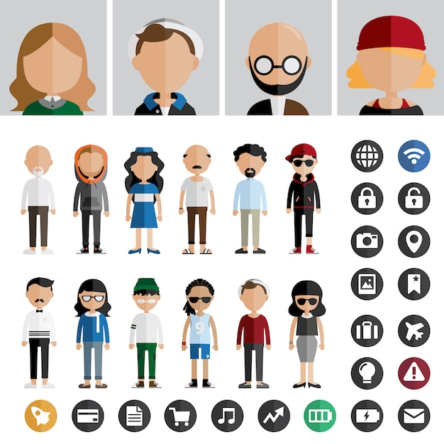 Concept de vecteur de gens icône de mode de vie contemporain Vecteur gratuit