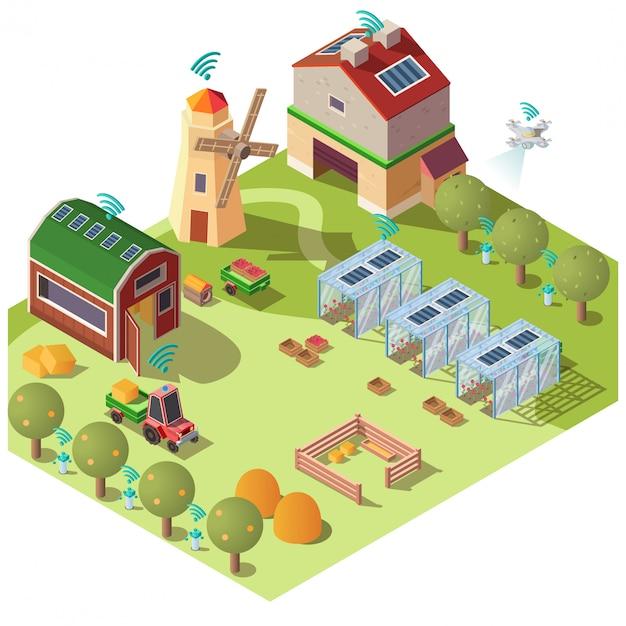 Concept de vecteur isométrique intelligent agriculture écologique Vecteur gratuit