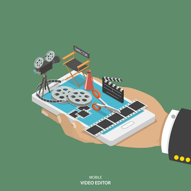 Concept de vecteur isométrique plat éditeur vidéo mobile. Vecteur Premium