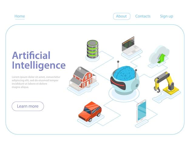 Concept De Vecteur Isométrique Plat D'intelligence Artificielle. Vecteur Premium