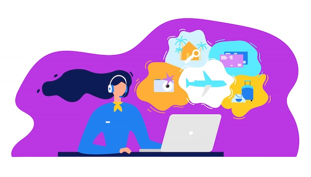 Concept de vecteur plat agence de voyage call center Vecteur Premium