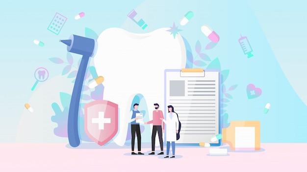 Concept de vecteur plat d'assurance santé et assurance dentaire Vecteur Premium