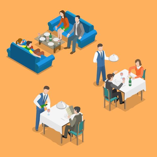 Concept de vecteur plat isométrique service restaurant. Vecteur Premium