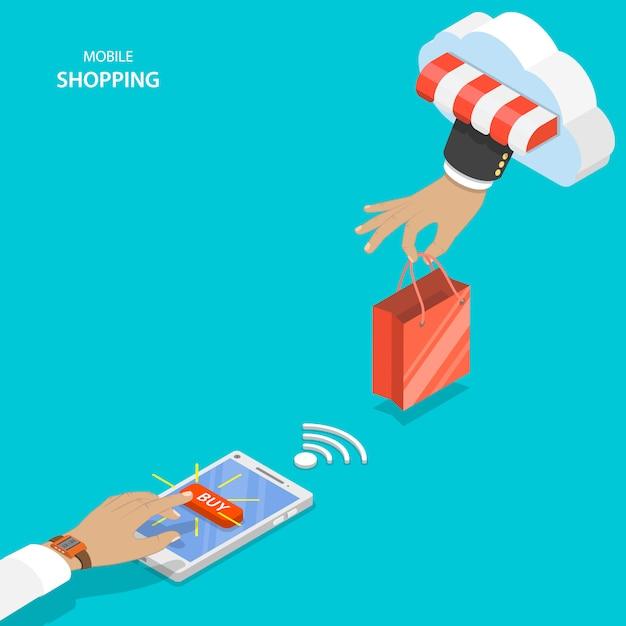 Concept de vecteur plat shopping mobile. Vecteur Premium