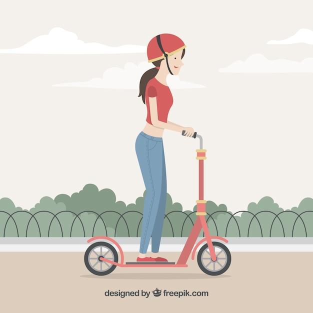 Concept de vélo électrique avec femme dans le parc Vecteur gratuit