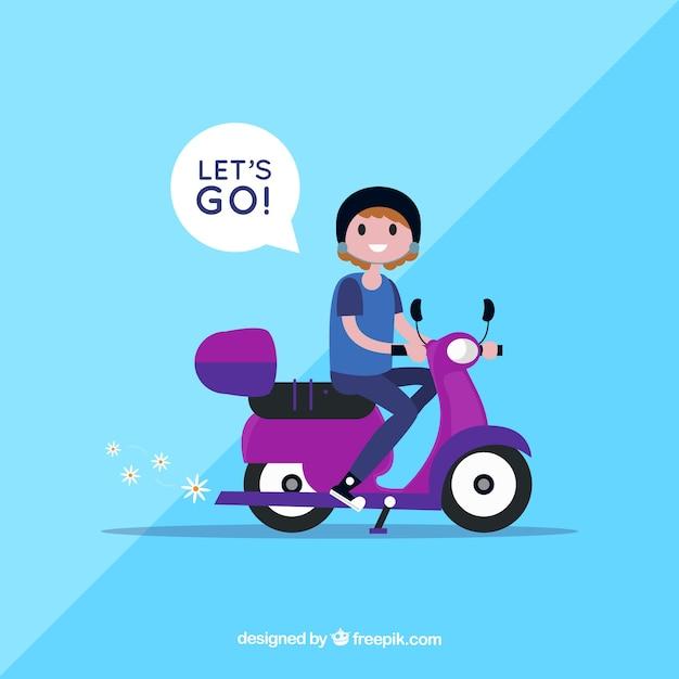 Concept De Vélo électrique Avec Femme Disant Laisse Aller Vecteur gratuit