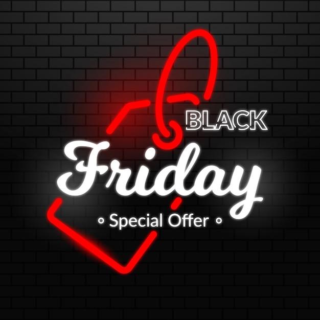 Concept de vendredi noir avec design néon Vecteur gratuit