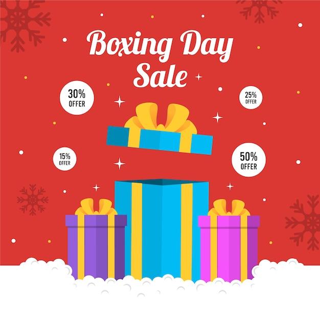 Concept de vente boxing day design plat Vecteur gratuit