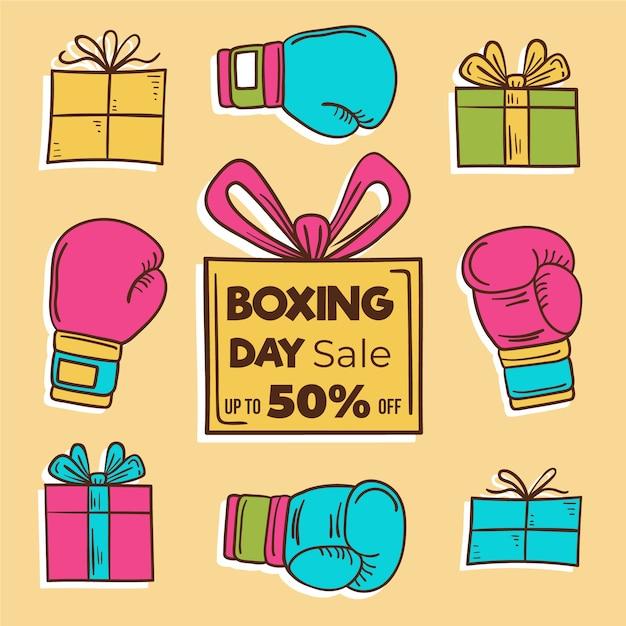 Concept de vente boxing day dessinés à la main Vecteur gratuit