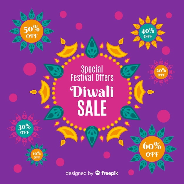 Concept de vente design plat diwali Vecteur gratuit