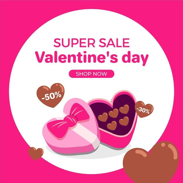 Concept De Vente De Design Plat Valentines Day Vecteur gratuit