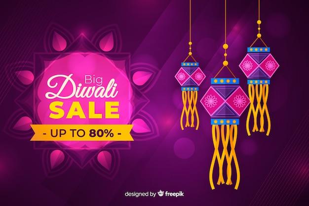 Concept de vente diwali au design plat Vecteur gratuit