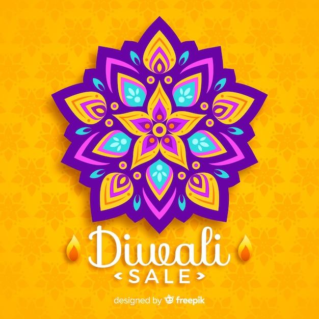 Concept de vente diwali avec design plat Vecteur gratuit