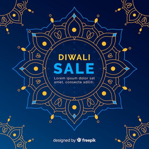 Concept de vente diwali avec fond design plat Vecteur gratuit