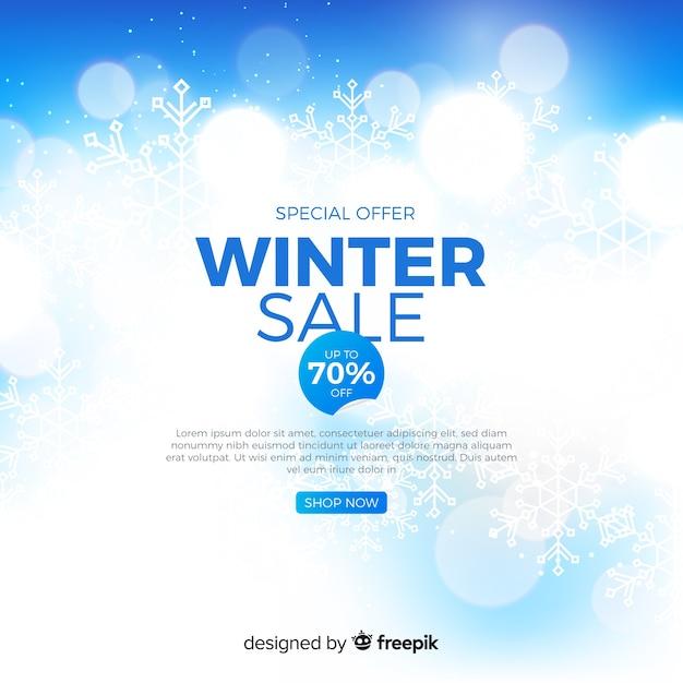 Concept de vente floue d'hiver Vecteur gratuit