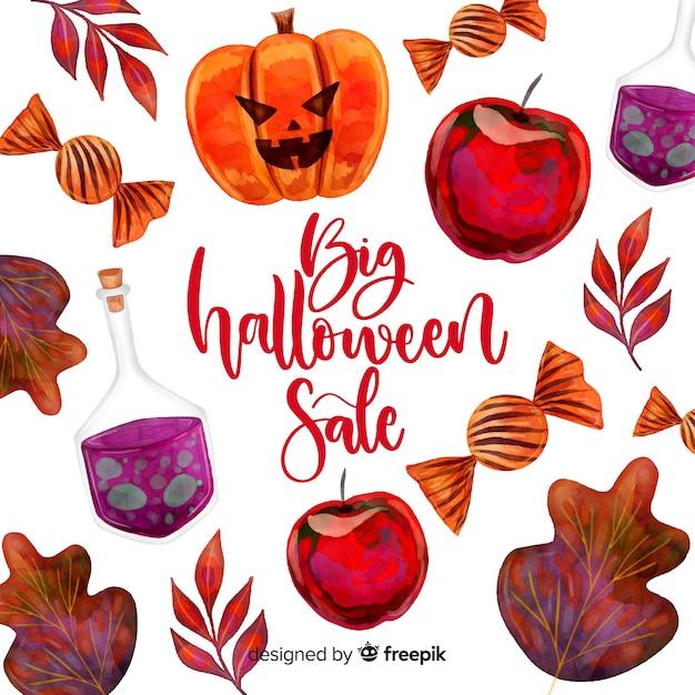Concept de vente halloween à l'aquarelle Vecteur gratuit