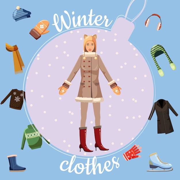 Concept de vêtements d'hiver, style cartoon Vecteur Premium