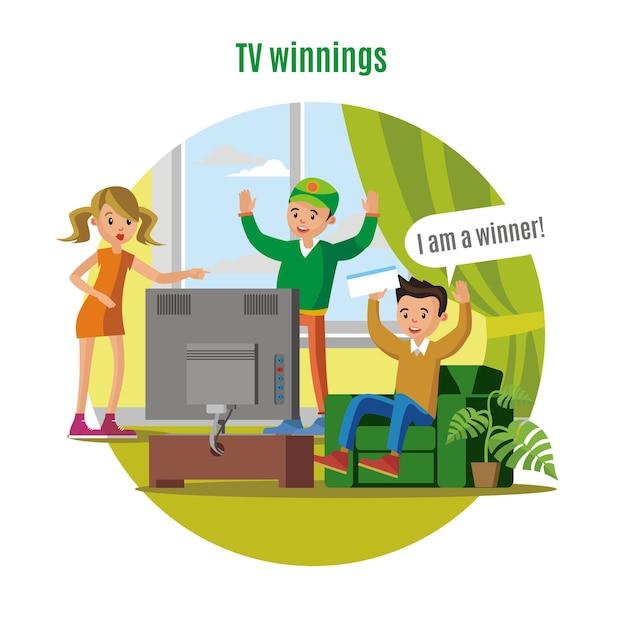 Concept De Victoire De Loterie Télévisée Vecteur gratuit