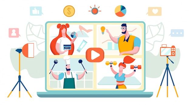 Concept de vidéo blogueurs Vecteur Premium