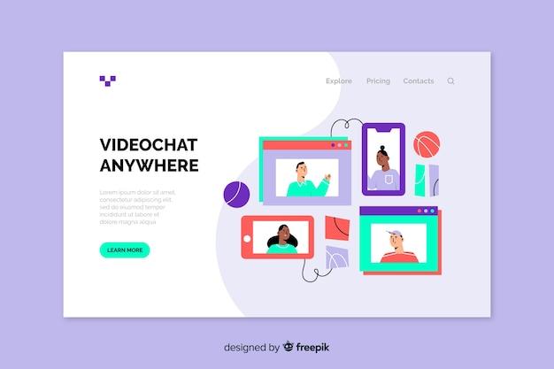 Concept de vidéoconférence pour la page de destination Vecteur gratuit