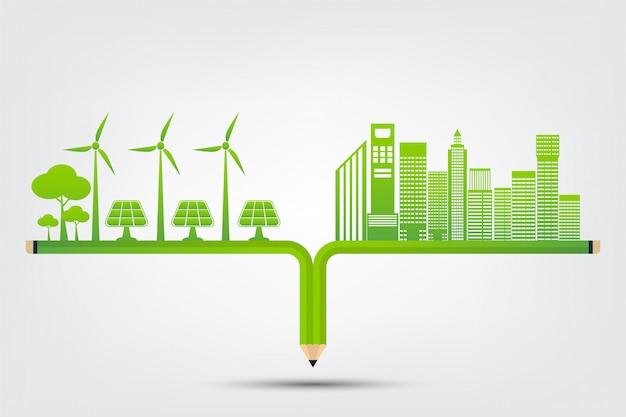 Concept de ville écologique et environnement avec des idées écologiques Vecteur Premium