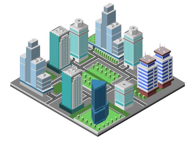 Concept de ville de gratte-ciel Vecteur gratuit