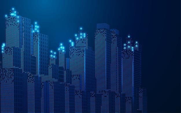 Concept De Ville Intelligente Ou Ville Numérique, Paysage Urbain Filaire Dans Un Style Futuriste Vecteur Premium