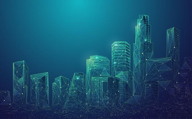 Concept De Ville Numérique Ou Ville Intelligente, Graphique De Bâtiments Polygonaux Avec élément Futuriste Vecteur Premium