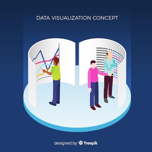Concept de visualisation de données isométrique Vecteur gratuit