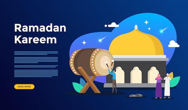 Concept de voeux joyeux ramadan kareem avec caractère de personnes pour le modèle de page de renvoi web Vecteur Premium