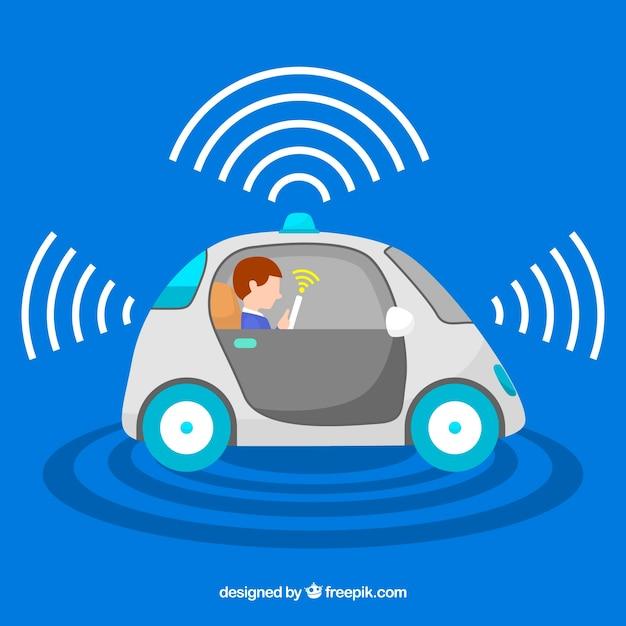 Concept de voiture autonome avec un design plat Vecteur gratuit