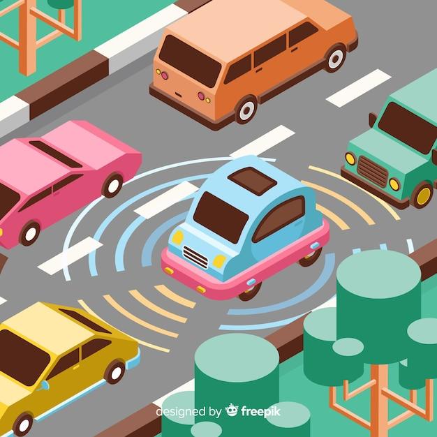 Concept de voiture autonome isométrique Vecteur gratuit