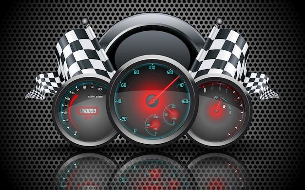 Concept de voiture de course jauge de vitesse Vecteur Premium