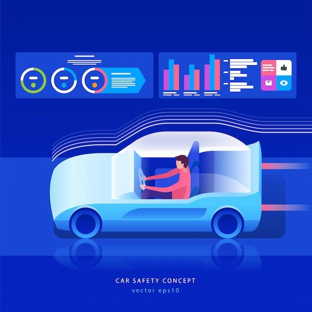 Concept de voiture du futur. Vecteur Premium