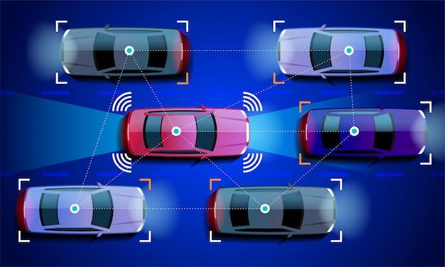 Concept De Voiture Intelligente Véhicule Autonome Autonome Sur L'illustration De La Route De La Ville Vecteur Premium