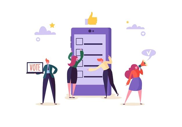 Concept De Vote électronique Avec Des Personnages Votant à L'aide D'un Ordinateur Portable Via Un Système Internet électronique. Un Homme Et Une Femme Votent Dans L'urne. Vecteur Premium