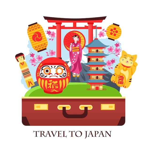 Concept De Voyage Au Japon Composition Colorée Avec Porte Valise Ancienne Pagode Geisha Lanternes Maneki Neko Cat Vecteur gratuit