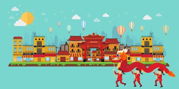 Concept de voyage en chine avec des monuments de la chine Vecteur Premium