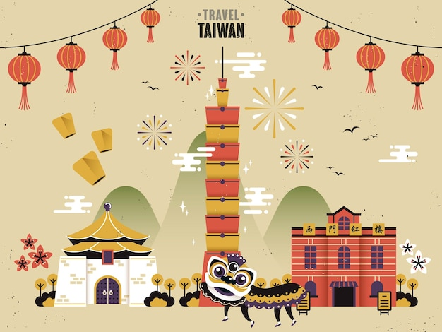 Concept De Voyage Culturel De Taiwan Vecteur Premium