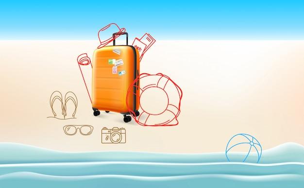 Concept de voyage avec différents trucs de voyage Vecteur Premium