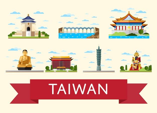 Concept De Voyage à Taiwan Avec Des Attractions Célèbres Vecteur Premium