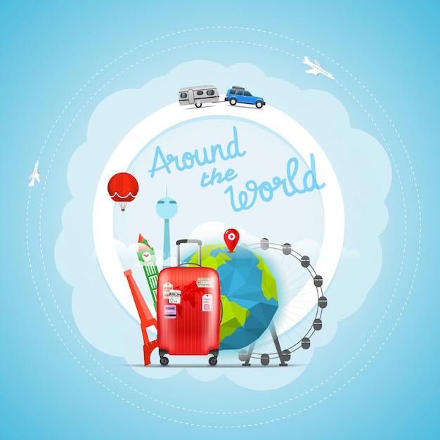 Concept de voyage de vacances. illustration de voyage vectorielle Vecteur Premium