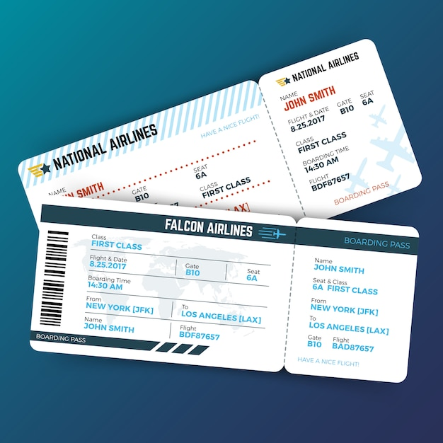 Concept de voyage vecteur avec billets d'avion carte d'embarquement Vecteur Premium