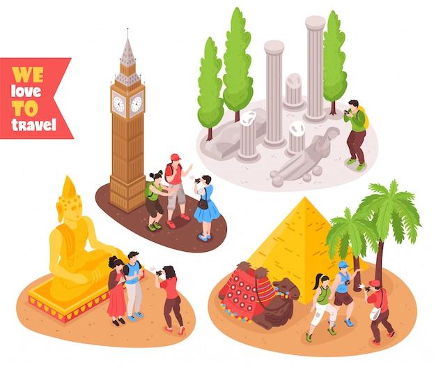 Concept De Voyage Voyage 4 Compositions Isométriques Avec Les Touristes Visitant Les Pyramides D'egypte Londres Big Ben Rome Vecteur gratuit