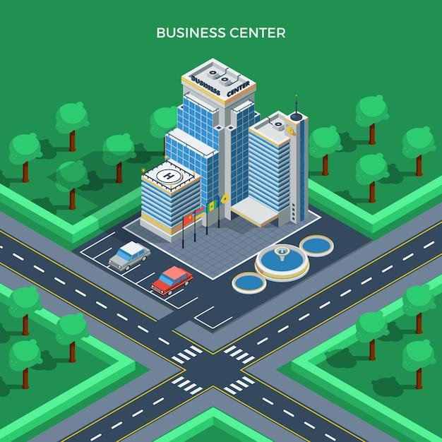 Concept de vue de dessus isométrique du centre d'affaires Vecteur gratuit