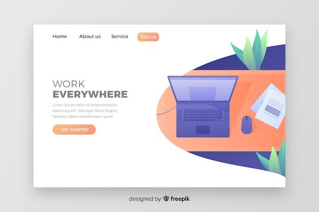 Concept web pour la page de destination de l'entreprise avec un ordinateur portable Vecteur gratuit