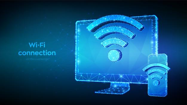Concept Wifi Gratuit De Connexion Sans Fil. Résumé Moniteur D'ordinateur Polygonal Faible Et Smartphone Avec Signe Wi-fi. Symbole De Signal De Point D'accès. Vecteur Premium