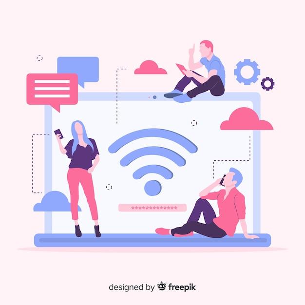 Concept wifi plat Vecteur gratuit