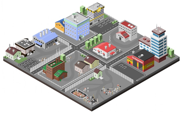 Concept de zone industrielle Vecteur gratuit